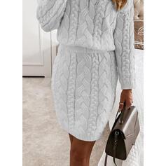 Solido Cavo Knit Scollatura a V Casual Lungo Abito maglione
