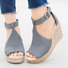 Femmes Tissu Talon compensé Sandales Compensée avec Boucle chaussures