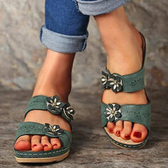 Women's PU Low Heel Sandals Peep Toe With Flower Solid Color shoes