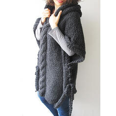 Solid Cable-knit Chunky knit Hooded Sweater Dress