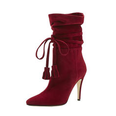 Women's Suede Stiletto Heel Pumps Mid-Calf Boots With Lace-up shoes