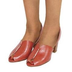 Kvinnor PU Tjockt Häl Sandaler Pumps Peep Toe med Andra skor