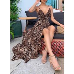 Leopardo Sem mangas Evasê Assimétrico Sexy/Festa/Férias Vestidos