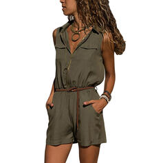 Solid Shirt collar Sleeveless Casual Romper