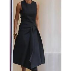 Couleur Unie Sans Manches Trapèze Patineuse Petites Robes Noires/Décontractée Midi Robes