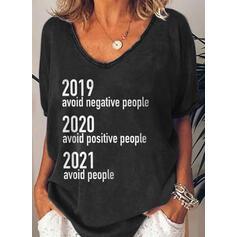Druck Buchstaben V-Ausschnitt 1/2 Ärmel T-Shirts