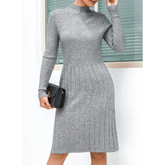 Solid Long Sleeves A-line Knee Length Little Black/Casual Dresses