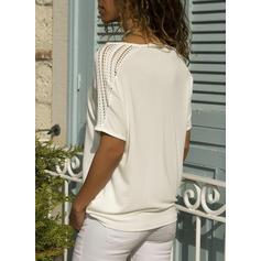 Egyszínű Csipke Kerek nyak Rövidujjú Hétköznapokra robić na drutach Μπλουζάκια