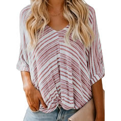 Striped V Neck 3/4 Sleeves Casual Elegant Blouses