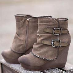 Naisten Mokkanahka Wedge heel Kengät jossa Vetoketju kengät