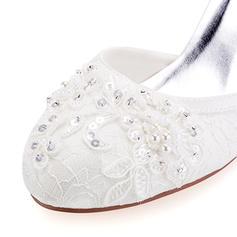 ecda3135329 ... Γυναίκες Δαντέλα Μετάξι σαν σατέν Ψηλό τακούνι Κλειστά παπούτσια  Γοβάκια Με Πούλια Δέσιμο δαντέλα Μαργαριτάρι