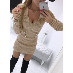 Solid Long Sleeves Bodycon Above Knee Little Black/Casual Sweater Dresses