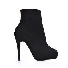 Femmes Suède Talon stiletto Plateforme Bout fermé Bottines chaussures