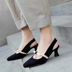 Women's Suede Stiletto Heel Pumps Closed Toe Slingbacks With Imitation Pearl shoes