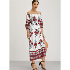 Print/Floral 1/2 Sleeves/Long Sleeves Shift Boho/Vacation Maxi Dresses
