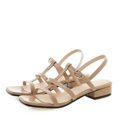 Women's Patent Leather PU Low Heel Sandals Peep Toe Slingbacks With Buckle shoes