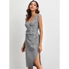 Plaid Sleeveless Sheath Knee Length Casual/Elegant Dresses