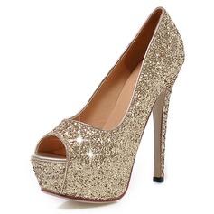 Kvinnor Glittrande Glitter Stilettklack Pumps Plattform Peep Toe skor