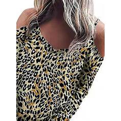 Leopardo Ombros à Mostra Manga Comprida Casual Camisetas