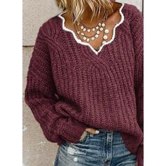 Jednolity Dekolt w kształcie litery V Casual Swetry