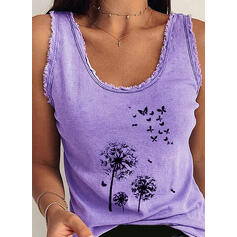 Animal Print Dandelion U-Neck Sleeveless Tank Tops
