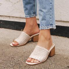 Femmes PU Talon bas Sandales À bout ouvert Chaussons avec Ouvertes chaussures