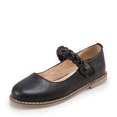 Femmes Similicuir Talon plat Chaussures plates Bout fermé Mary Jane avec Lanière tressé chaussures