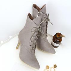 Femmes Suède Talon stiletto Bottes avec Dentelle chaussures