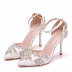 Women's Leatherette Spool Heel Closed Toe Pumps With Crystal