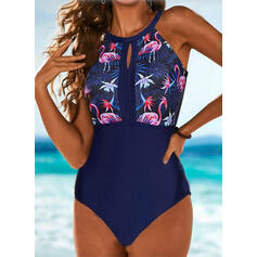 Tropical Print Backless Strapless High Neck Sexy Vintage Casual One-piece Swimsuits
