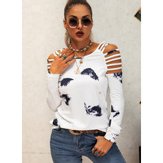Tie Dye Cold Shoulder Long Sleeves Casual Knit Blouses