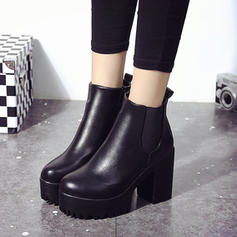 Women's PU Chunky Heel Pumps Closed Toe Boots With Elastic Band shoes