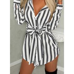 Striped Long Sleeves Sheath Above Knee Casual Shirt Dresses