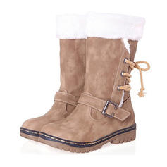Women's PU Low Heel Mid-Calf Boots Snow Boots With Buckle Lace-up shoes