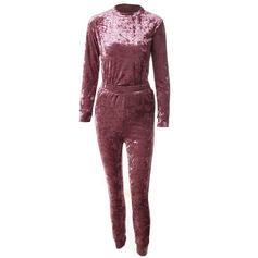 Round Neck Long Sleeves Solid Color Attractive Top & Pants Sets