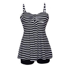 Stripe Strap Beautiful Plus Size Tankinis Swimsuits