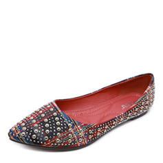 Femmes Tissu Talon plat Chaussures plates Bout fermé avec Rivet chaussures