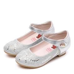 A menina de Couro legitimo Heel plana Toe rodada Fechados Sem salto Sapatas do florista com Velcro Cristal