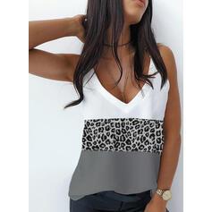 Trozos de color Leopardo Correa Sin mangas Camisetas sin mangas