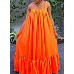 Solid Sleeveless Shift Vacation/Plus Size Midi Dresses