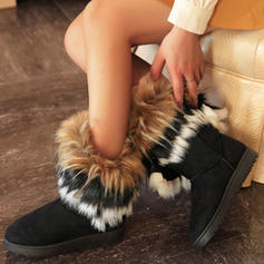 Women's Suede Flat Heel Snow Boots With Faux-Fur shoes