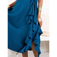 Solid Short Sleeves A-line Skater Party/Elegant Midi Dresses