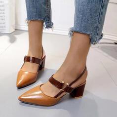Frauen PU Stämmiger Absatz Absatzschuhe mit Schnalle Schuhe