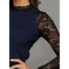Encaje/Sólido Manga Larga Cubierta Sobre la Rodilla Casual Vestidos