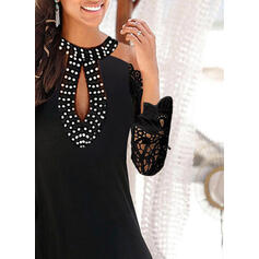 Lace/Beaded Long Sleeves Shift Above Knee Little Black/Casual/Vacation Tunic Dresses