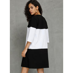 Color Block 3/4 Sleeves Shift Above Knee Casual Dresses