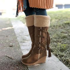 Dla kobiet PU Obcas Koturnowy Kozaki do polowy lydki Buty zimowe Z Sznurowanie obuwie