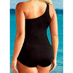 Solid Color Strap Sexy Plus Size One-piece Swimsuits