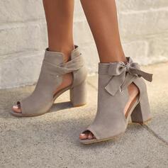 Süet Tıknaz Topuk Sandalet Pompalar Peep Toe Ayak bileği çizmeler Yuvarlak ayak Ile İlmek Bağcıklı ayakkabı Oymak Katı Renk ayakkabı