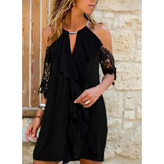 Lace/Solid 1/2 Sleeves Shift Above Knee Little Black/Casual Dresses